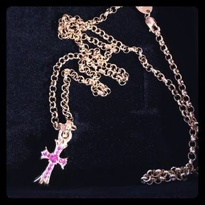 Chrome hearts ruby cross and chain 22 inches